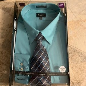 Haggar Peacock Blue Dress Shirt & Tie